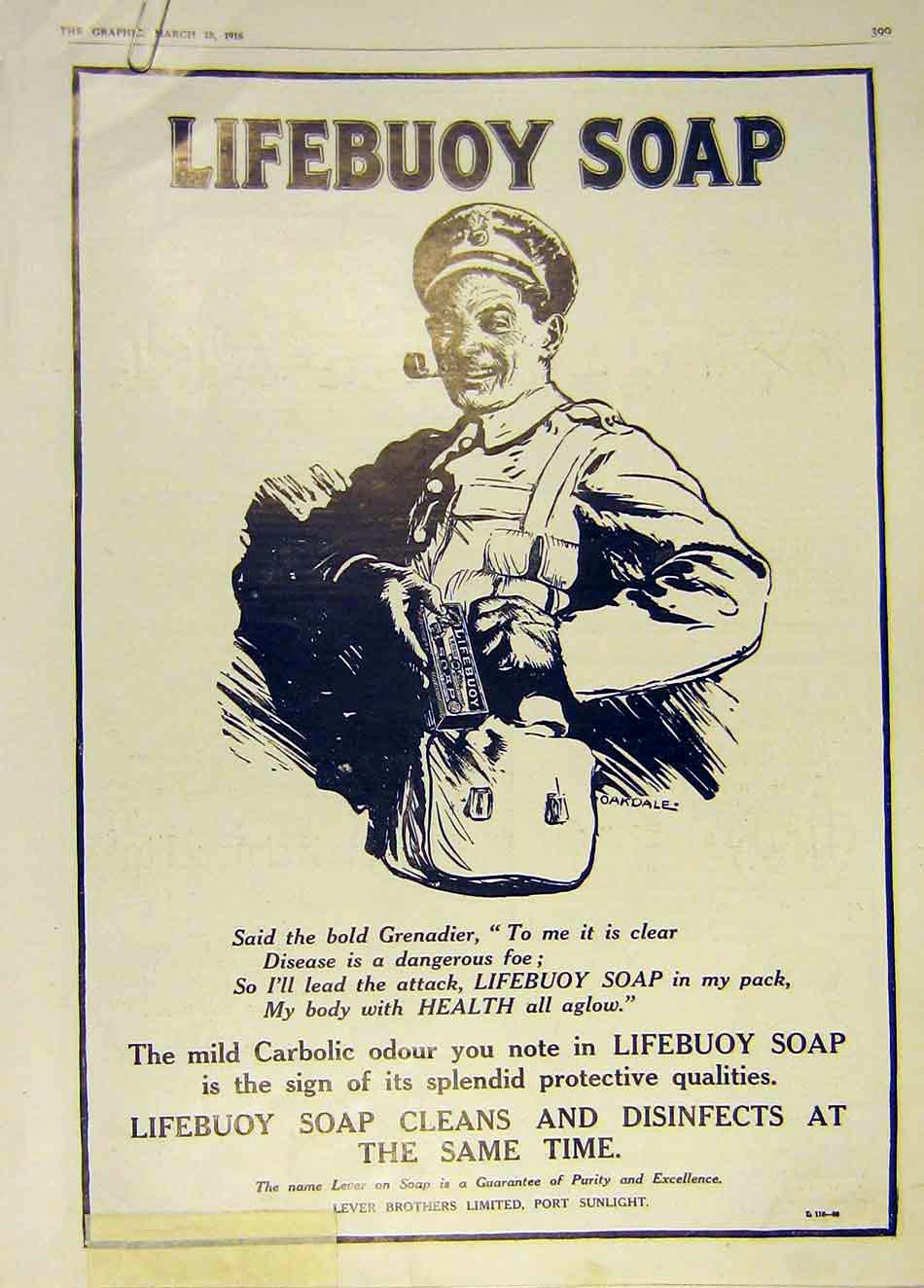 Print Lifebuoy Soap Grenadier Carbolic War Lever 1916 99Ddd0 Old Original
