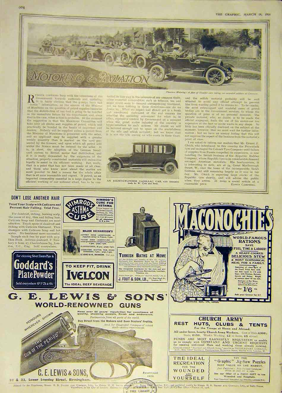 Print Motor Cadillac Car Limousine Cole Humber Coventry 1916 04Ddd0 Old Original