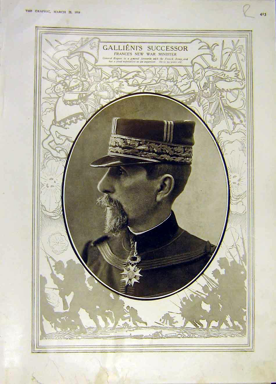 Print Roques French War Minister Eparges Telegraph Ww1 1916 13Rddd0 Old Original