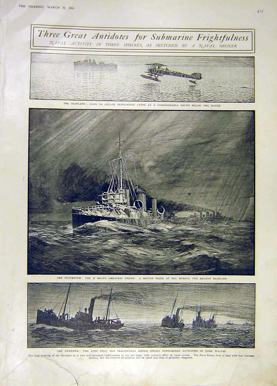 Print Submarine Navla Sketches Officer Seaplane Destroyer Ww1 17Ddd0 Old Original