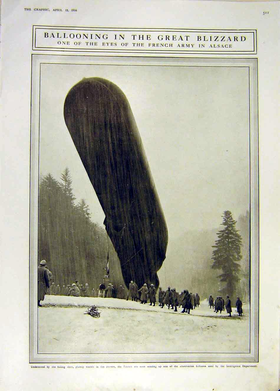 Print Balloon Blizzard Alsace France French Army Ww1 1916 11Ddd0 Old Original