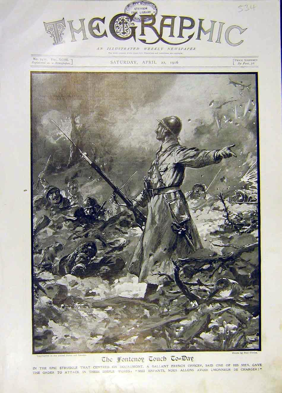 Print Fontenoy Douamont French Officer Ww1 Thiriat 1916 34Ddd0 Old Original