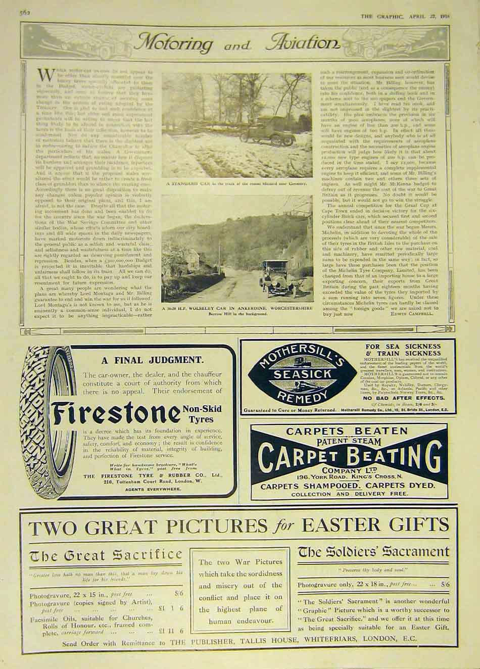 Print Coventry Car Wolseley Worcestershire 1916 62Ddd0 Old Original