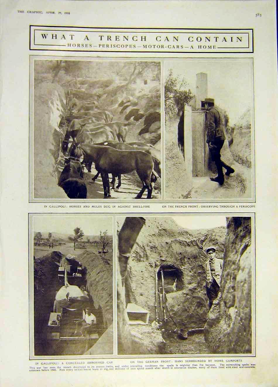 Print Trench Horses Periscope Motor-Car Galipoli French Ww1 85Ddd0 Old Original