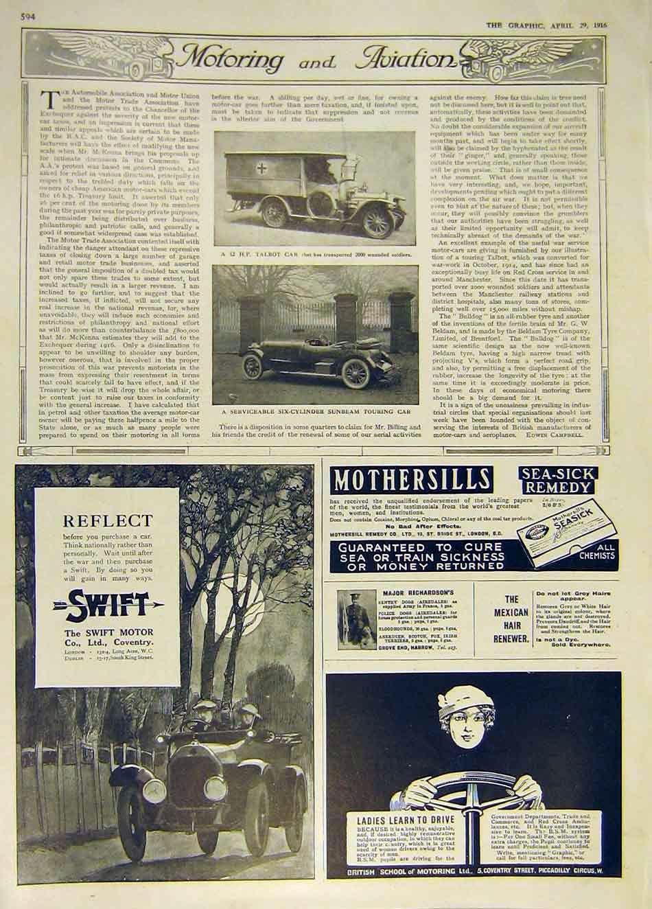 Print Talbot Car Red-Cross Sunbeam Swift Motor 1916 94Ddd0 Old Original