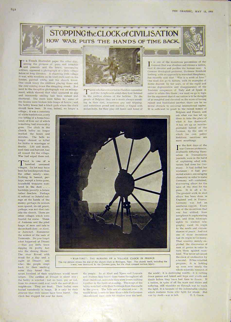 Print War-Time Ww1 Village Clock France Yser Church 1916 32Ddd0 Old Original