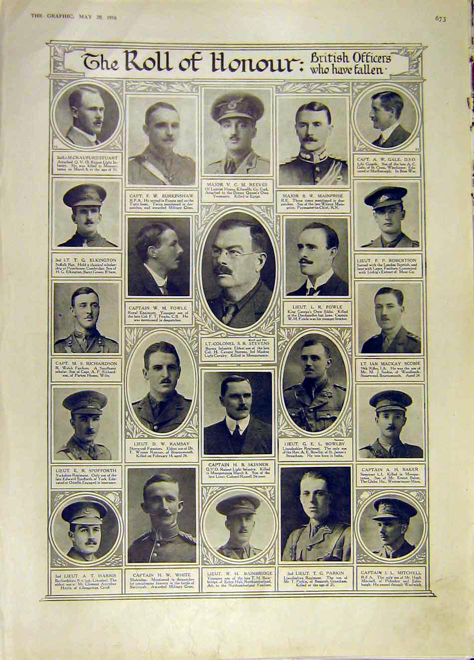 Print Roll Honour Ww1 British Officers War 1916 73Ddd0 Old Original
