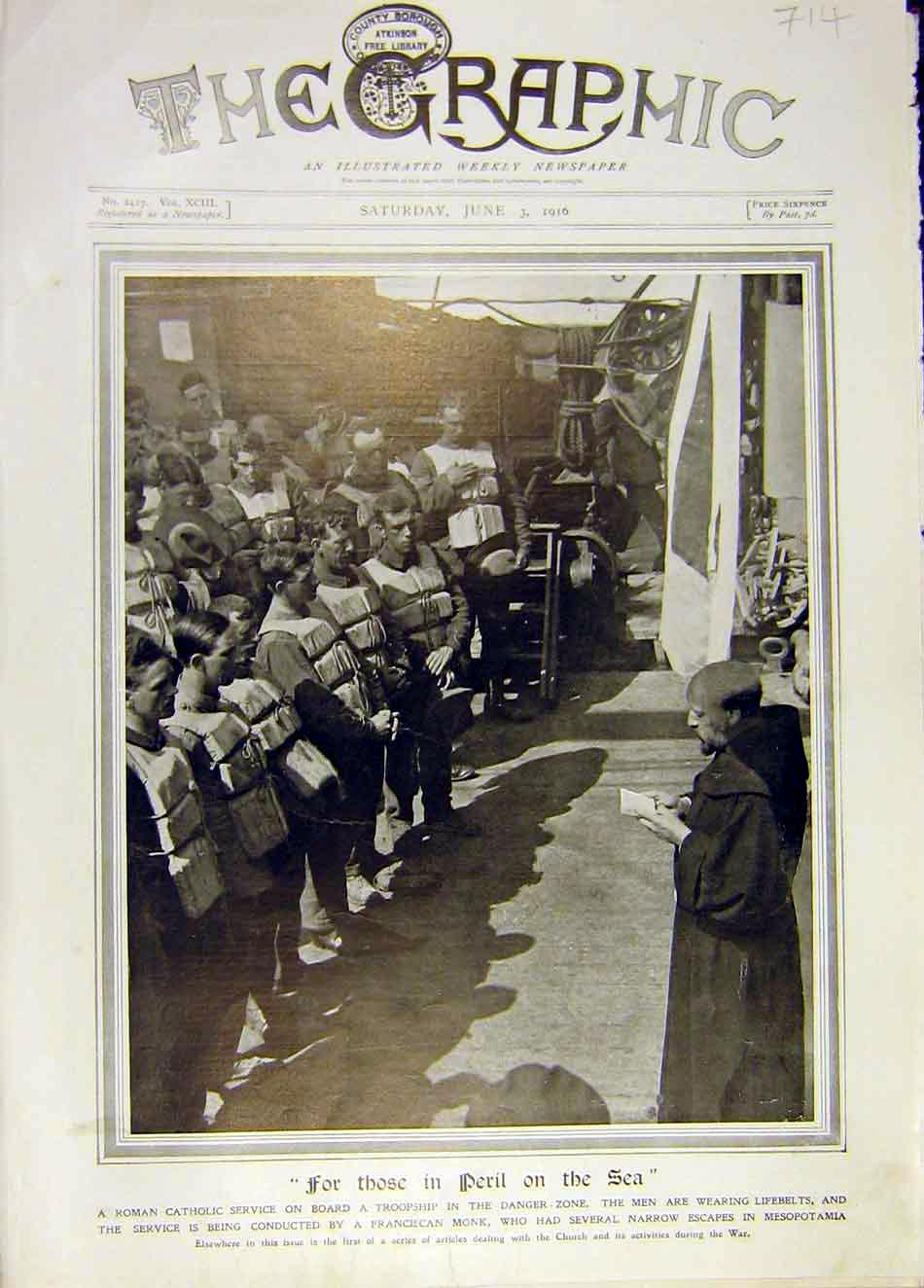 Print Roman Catholic Service Troopship War Ww1 Monk 1916 14Ddd0 Old Original
