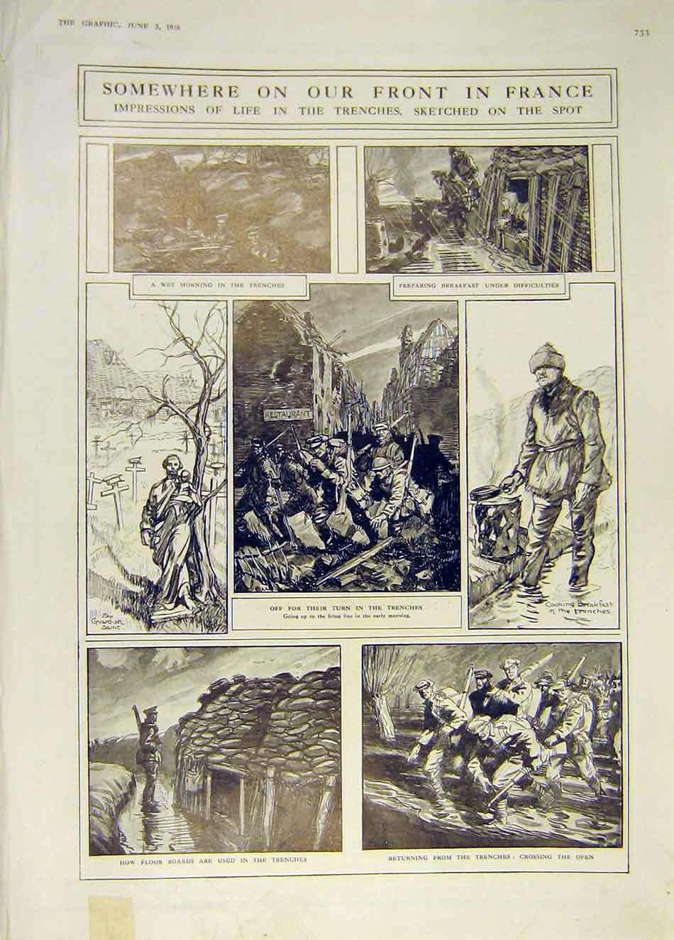 [Print France War Front Trenches Ww1 Sketches 1916 33Ddd0 Old Original]