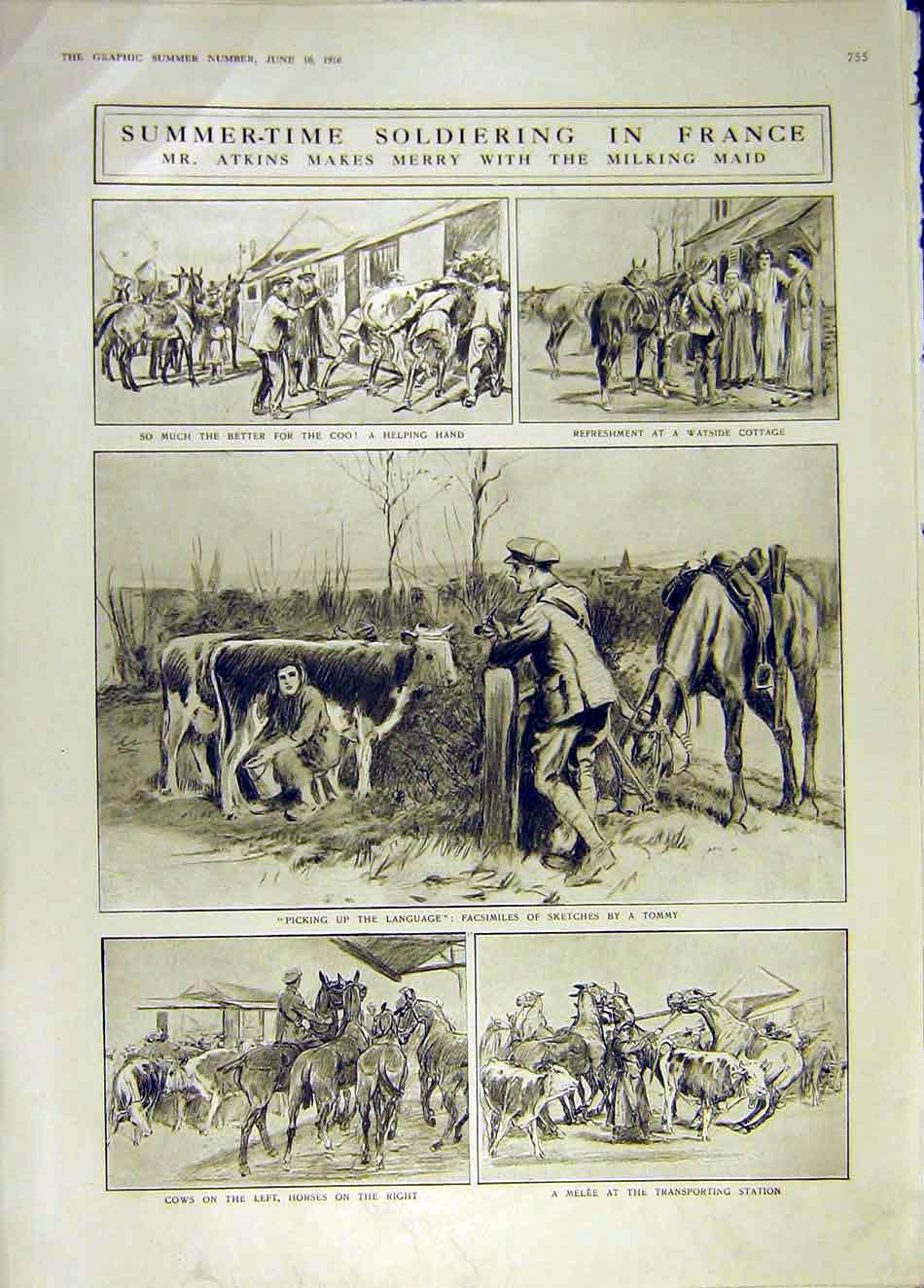 Print France Soldier Atkins Sketches Tommy French Ww1 1916 55Ddd0 Old Original