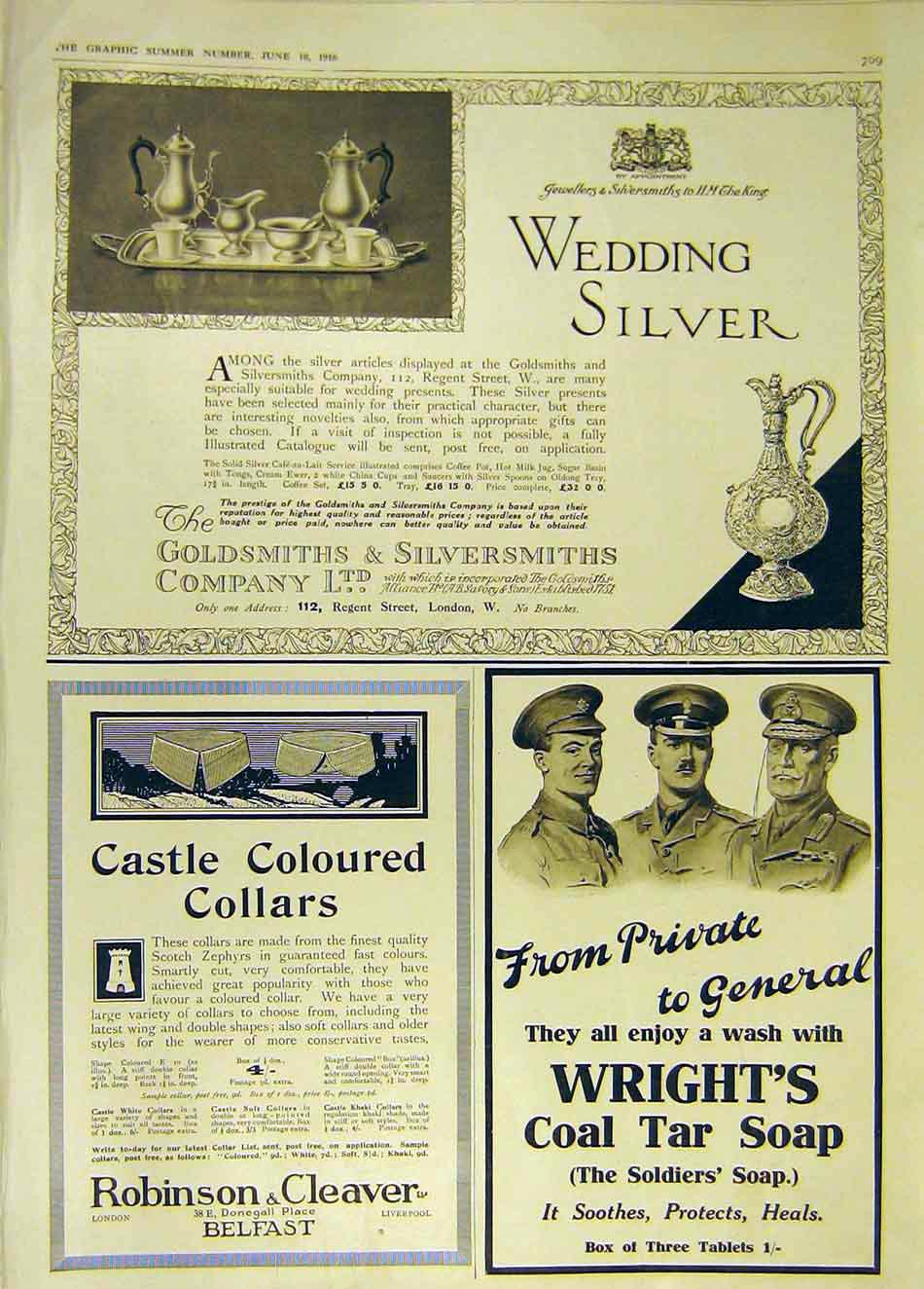 Print Advert Wedding Silver Robinson Cleaver Wright'S 1916 69Ddd0 Old Original