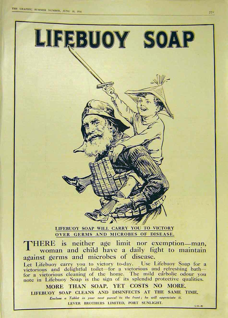 Print Advert Lifebuoy Soap Lever Brothers Sunlight 1916 71Ddd0 Old Original