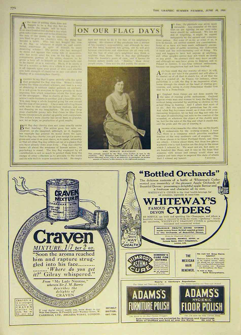 Print Portrait Horace Bleackley Advert Craven Whiteway'S 1916 76Ddd0 Old Original