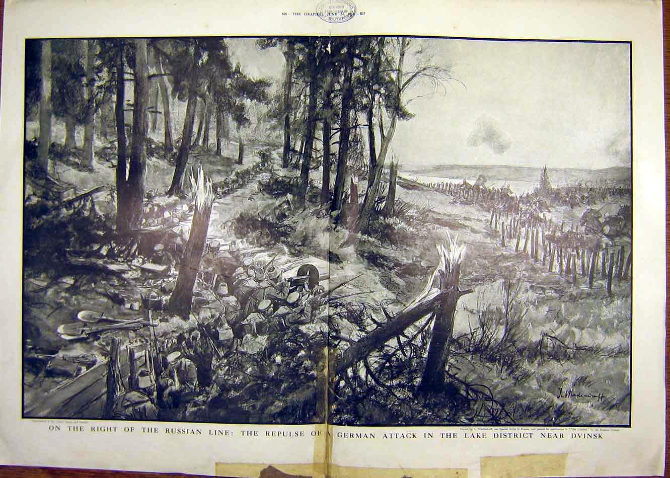 Print Russian Line German Attack Dvinsk Ww1 War 1916 25Tddd0 Old Original