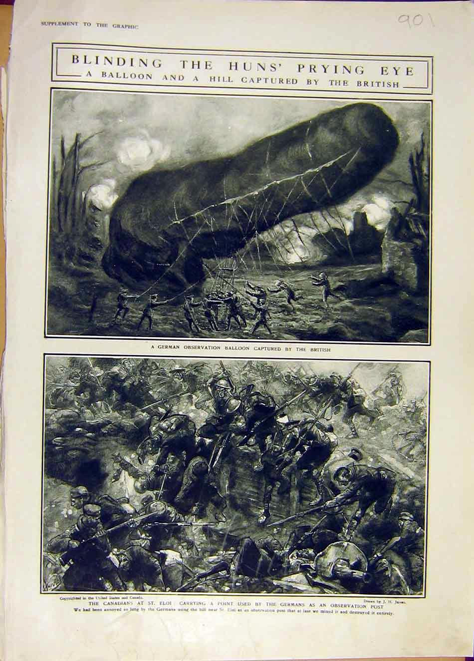 Print German Balloon Canadian St. Eloi Battle Ww1 War 1916 01Ddd0 Old Original