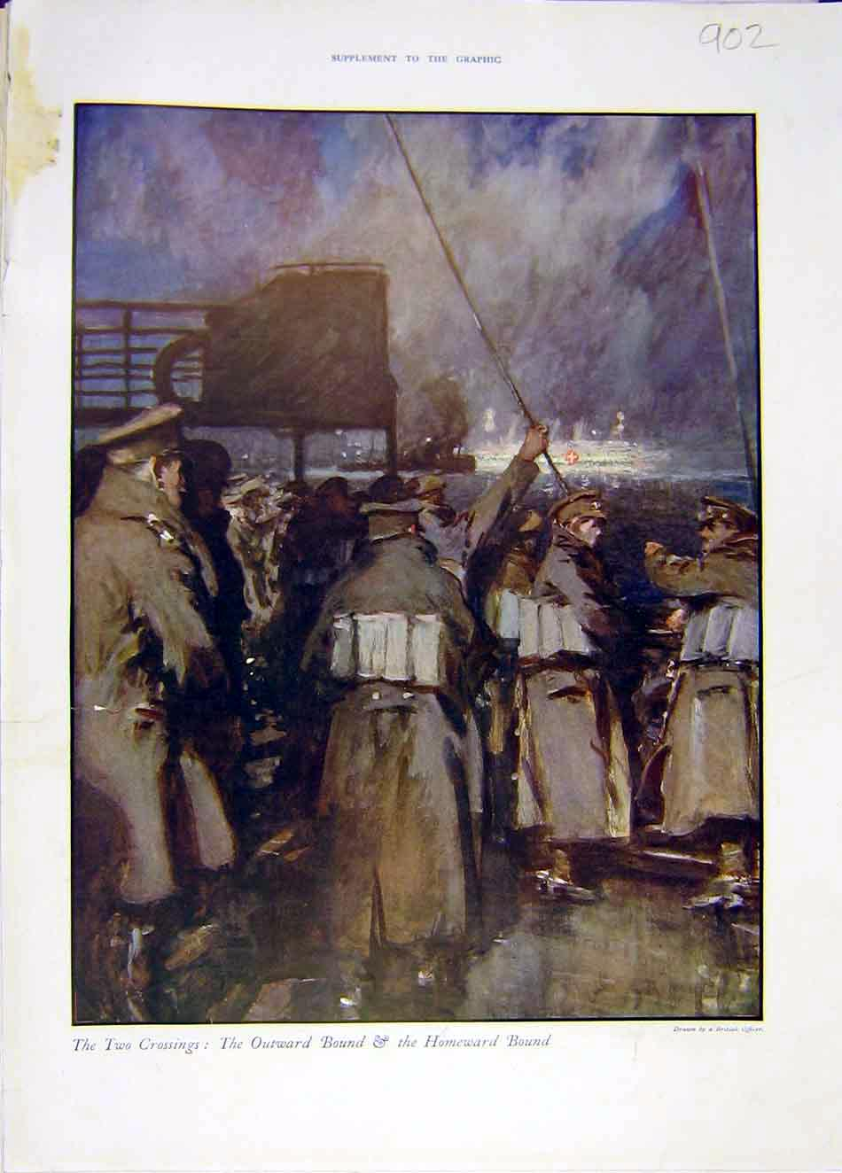 Print Ww1 War Soldiers Troops Two-Crossings Border 1916 02Ddd0 Old Original