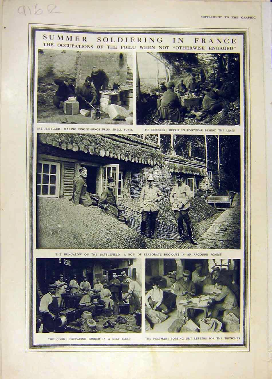 Print France Ww1 War Poilu Argonne Smuts Africa 1916 16Rddd0 Old Original