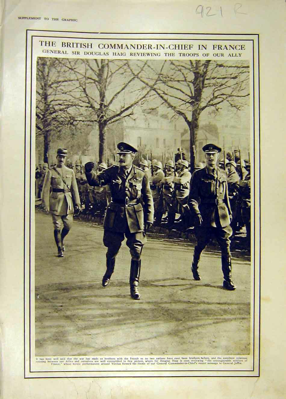 Print France Haig Troops Arras Cathedral Ww1 War 1916 21Rddd0 Old Original