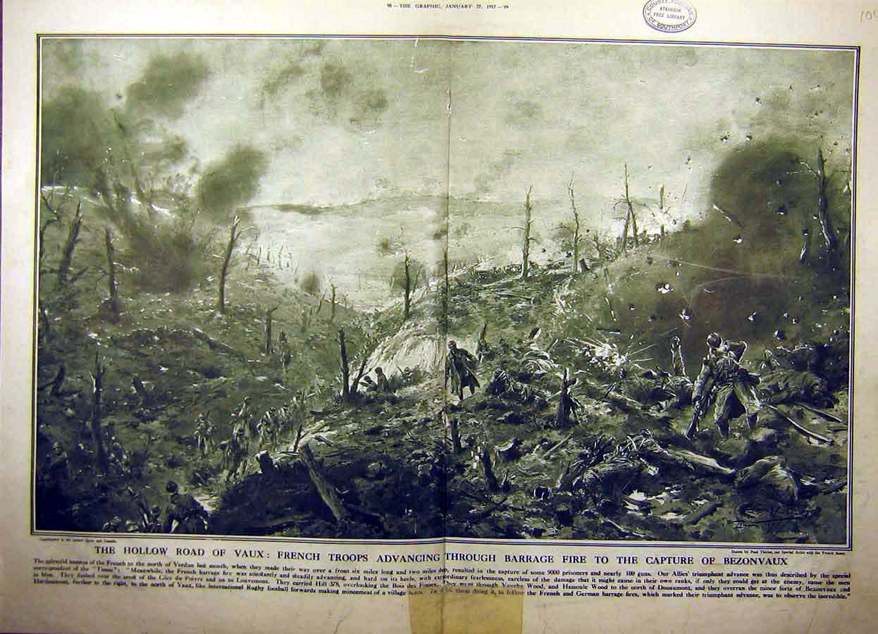 Print 1917 Vaux War Ww1 French Troops Battlefield Bezonvaux 04Tddd0 Old Original