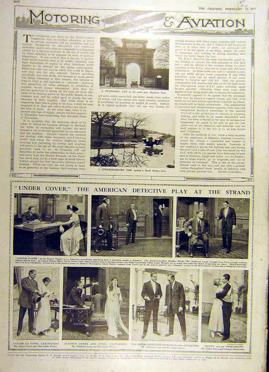Print 1917 Straker-Squire Car Theatre Scenes American Play 55Ddd0 Old Original