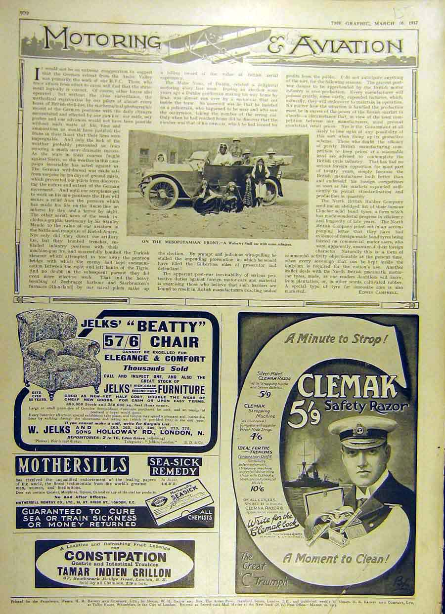 Print 1917 Wolseley Staff-Car Mesopotamia Clemak Beatty Chair 59Ddd0 Old Original