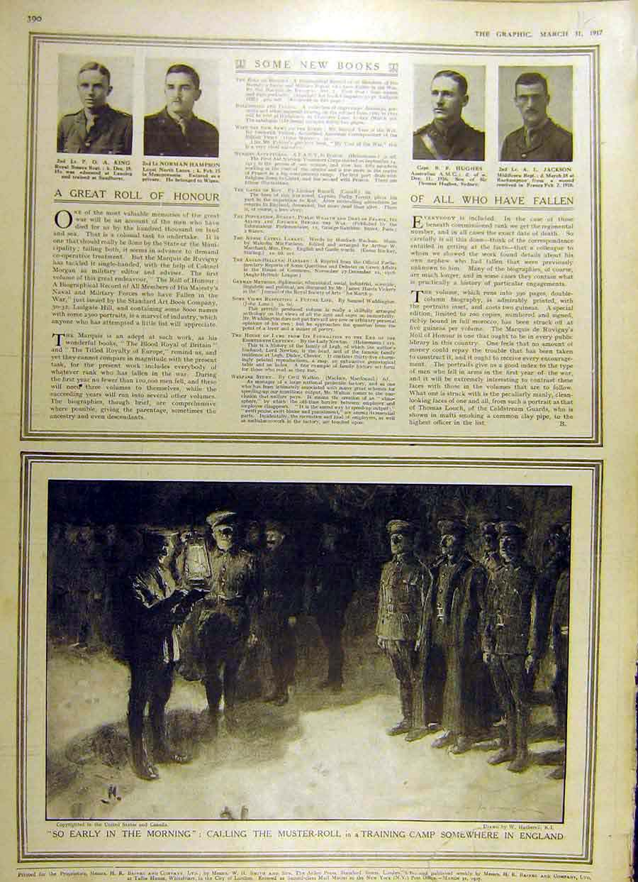 Print 1917 Officers Honour Muster-Roll Training Camp War Ww1 61Ddd0 Old Original