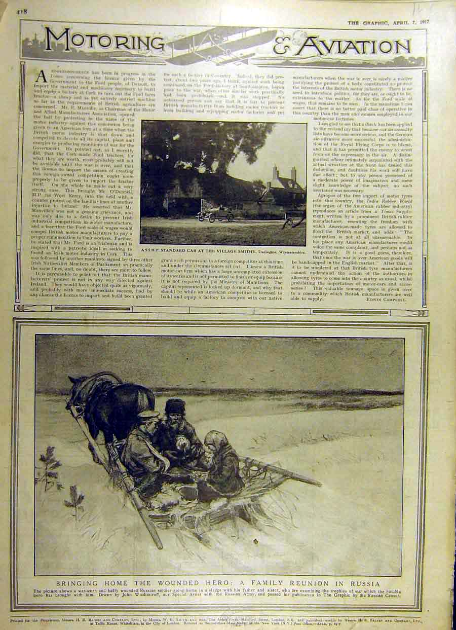 Print 1917 Standard Car Village-Smithy Wounded Soldier Russia 63Ddd0 Old Original