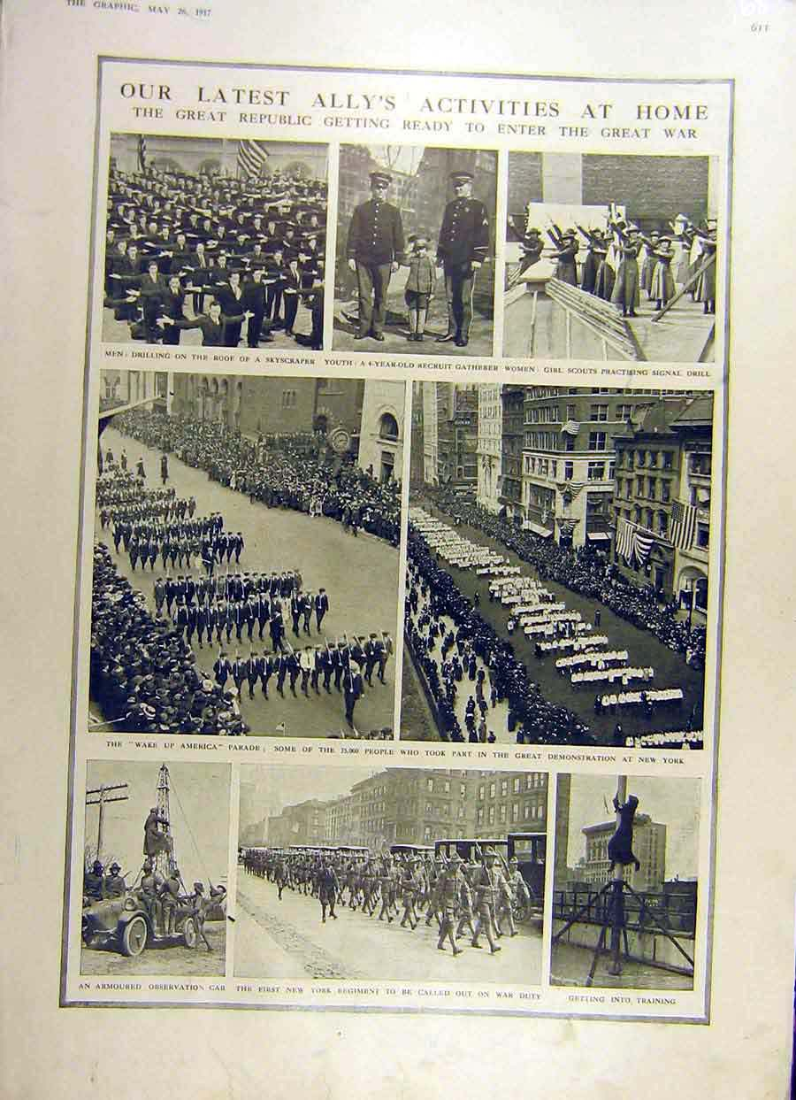 Print 1917 War Ww 1 Allies America New-York Regiment 68Ddd0 Old Original