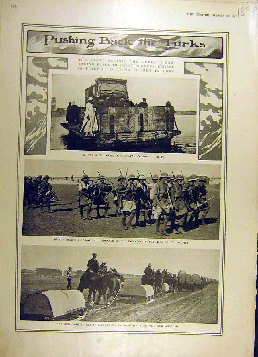 [Print 1917 Turks Suez Canal Desert War French-Front Ww1 Map 89Rddd0 Old Original]