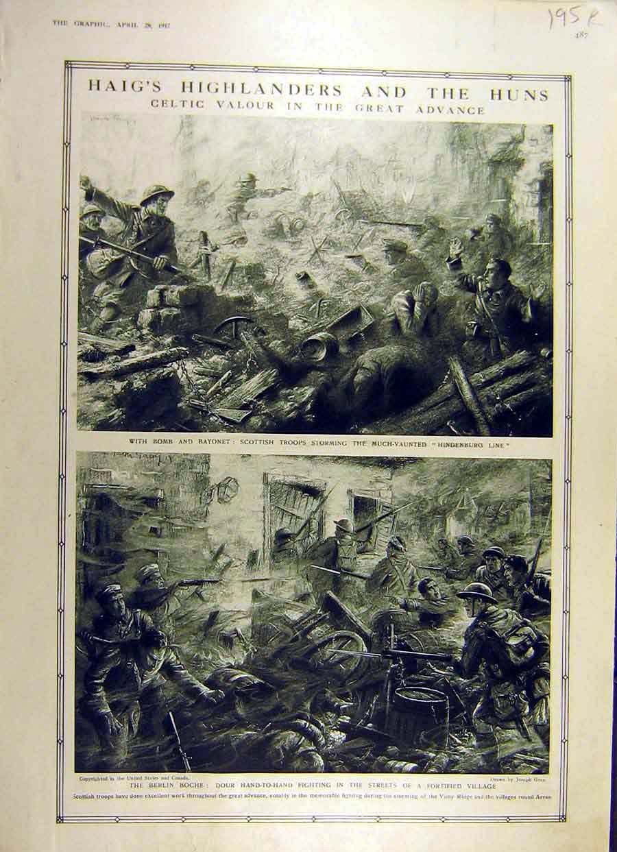 Print 1917 Haig Highlanders Scottish Troops Battle-Field Ww1 95Rddd0 Old Original