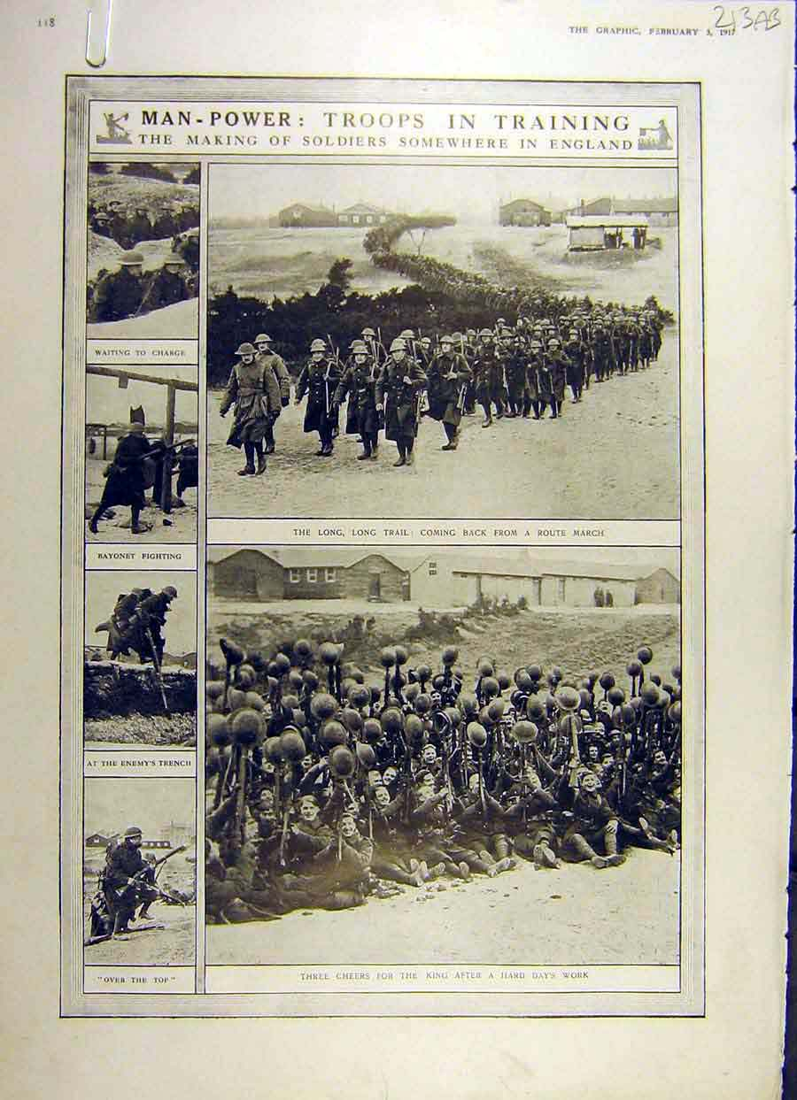 Print 1917 Man-Power Ww1 War Troops Training Soldiers Women 13Addd0 Old Original