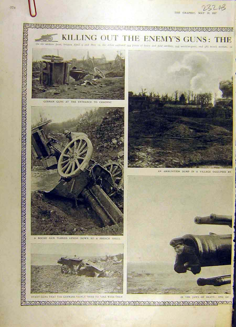 Print 1917 German Guns Ww1 War Vimy Ridge Artillery Troops 32Addd0 Old Original