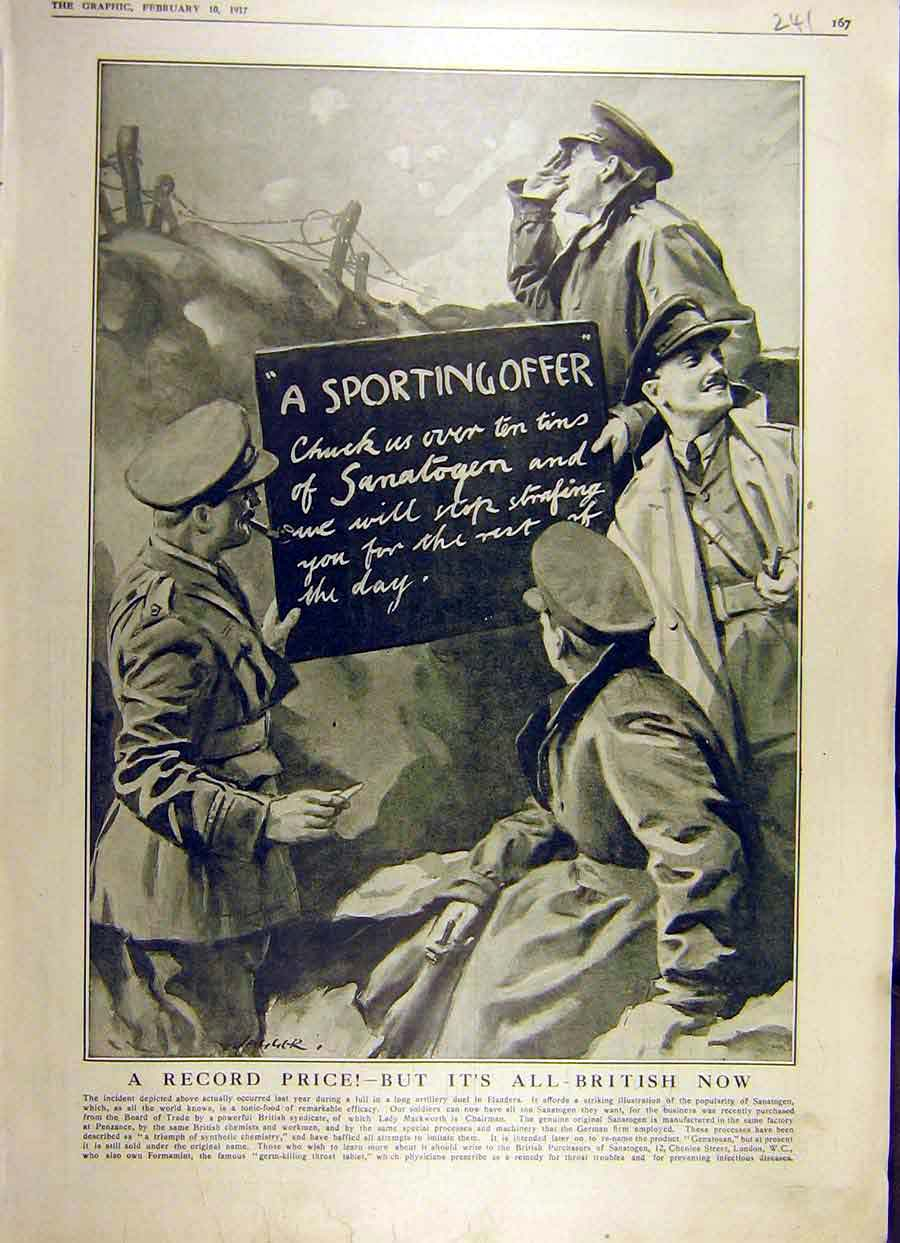 Print 1917 Sanatogen Ww1 War Advert Soldiers Trenches 41Ddd0 Old Original