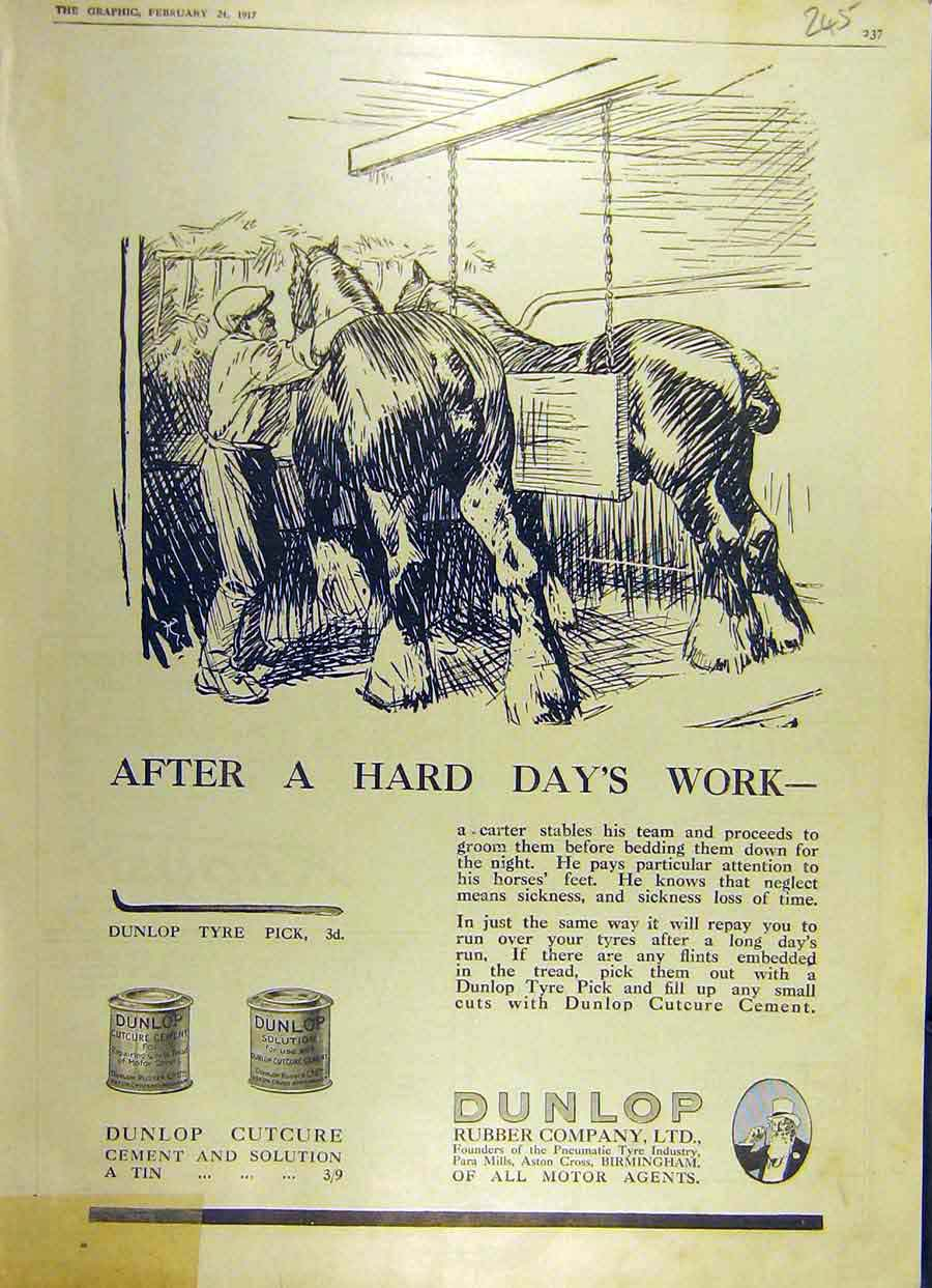 Print 1917 Dunlop Cutcure Cement-Solution Horse-Hooves Rubber 45Ddd0 Old Original