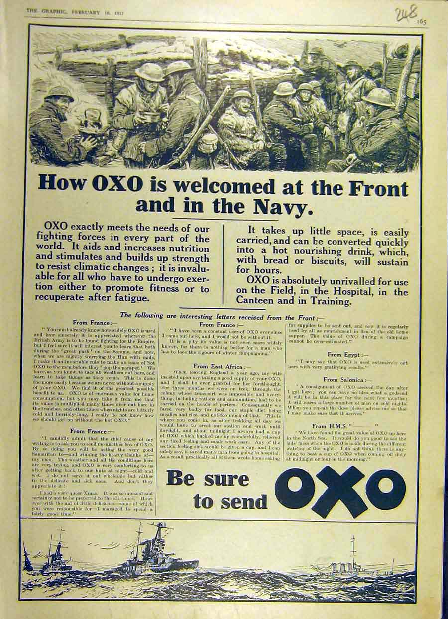 Print 1917 Navy Oxo Battle-Front Soldiers Advert Ww1 War 48Ddd0 Old Original