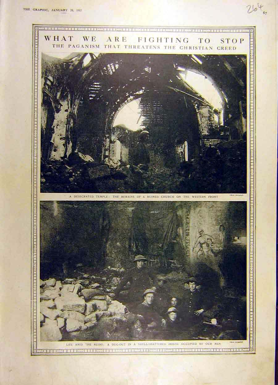 Print 1917 Temple Ruins Church Ww1 War Dug-Out Soldiers 64Ddd0 Old Original