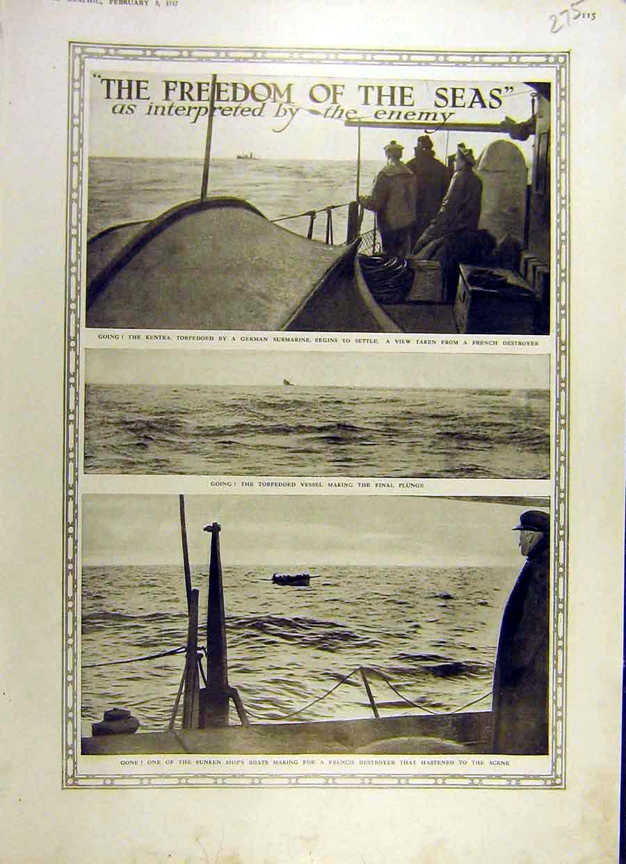 Print 1917 Kentra Torpedoed Vessel French Destroyer Ww1 War 75Ddd0 Old Original