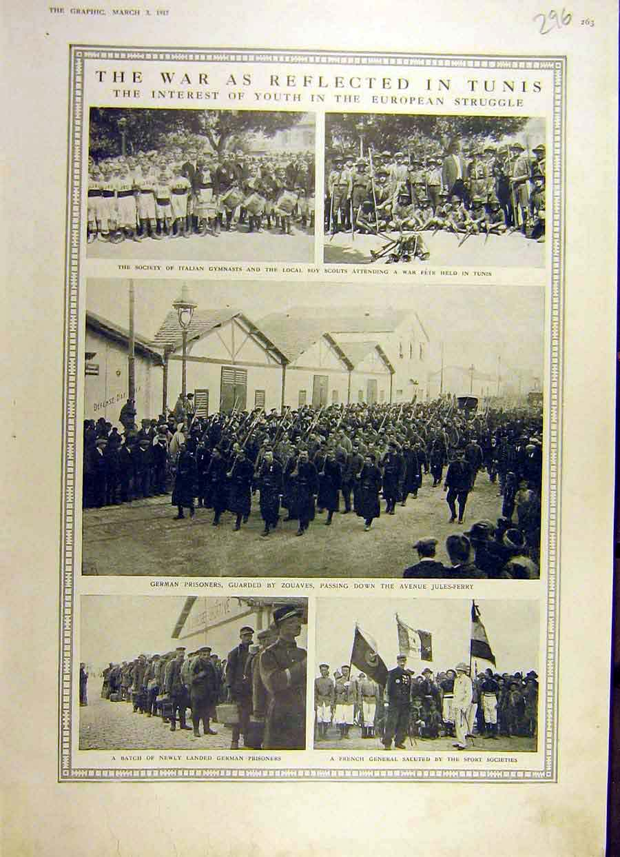 Print 1917 War Tunis German Prisoners Sport Society 96Ddd0 Old Original