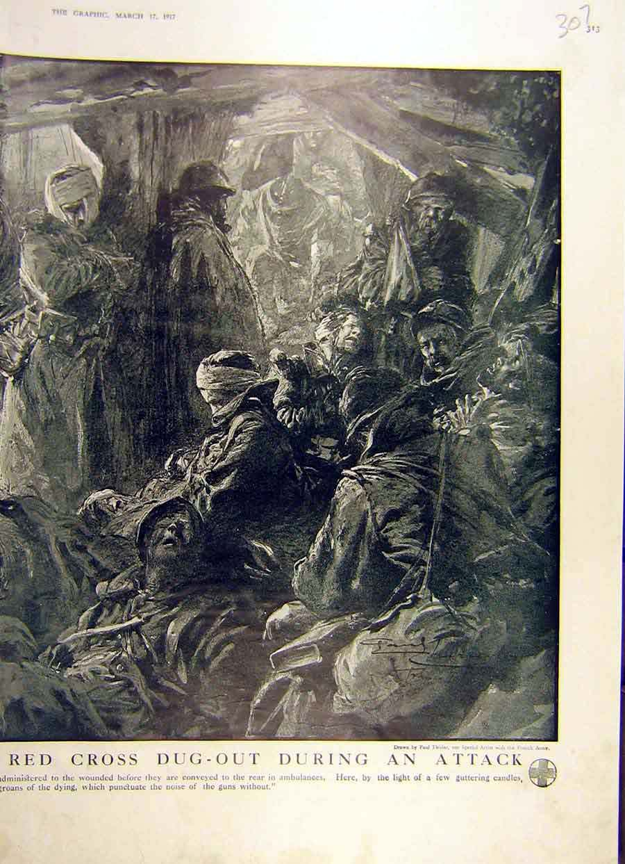 Print 1917 Red-Cross Dug-Out Attack Soldiers Ww1 War 07Ddd0 Old Original