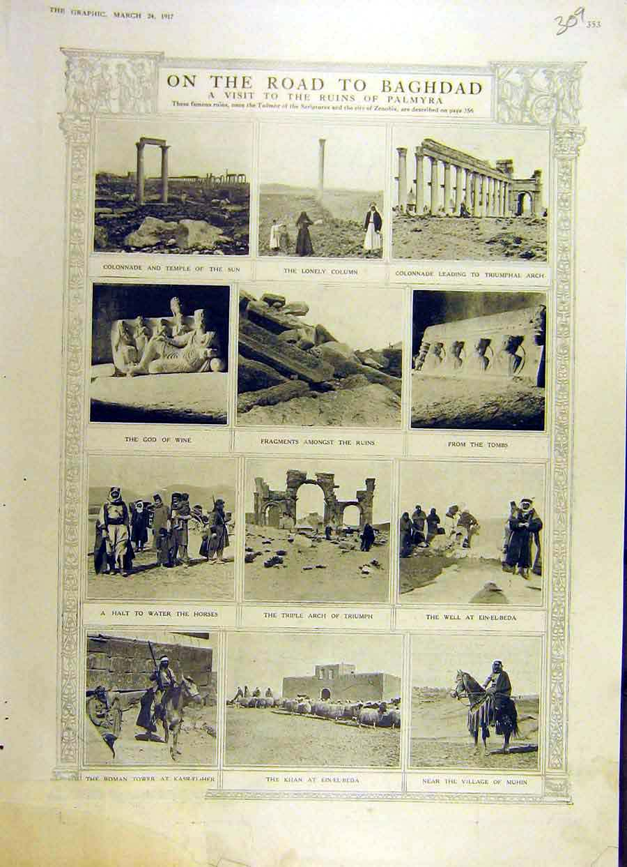 Print 1917 Baghdad Road Ruins Palmyra Temple Tombs 09Ddd0 Old Original