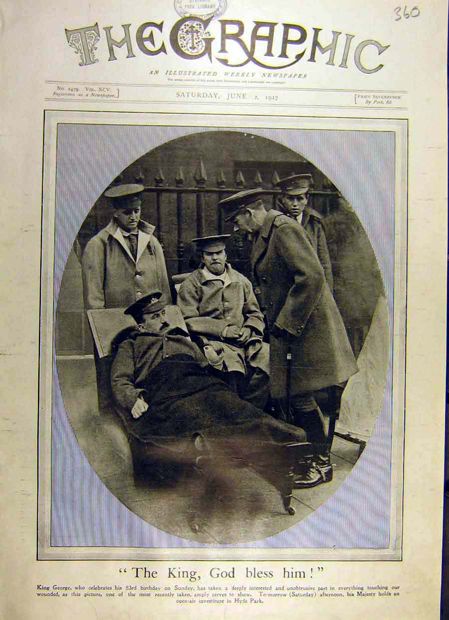 Print 1917 King George Portrait Photograph Ww1 War 60Ddd0 Old Original