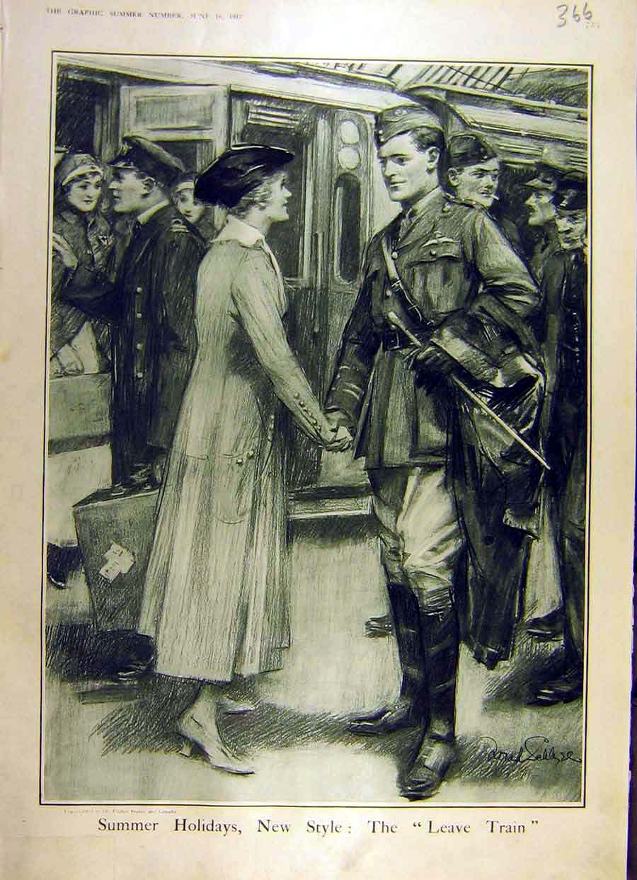 Print 1917 Train Troops Soldier Leave Lady Ww1 War 66Ddd0 Old Original