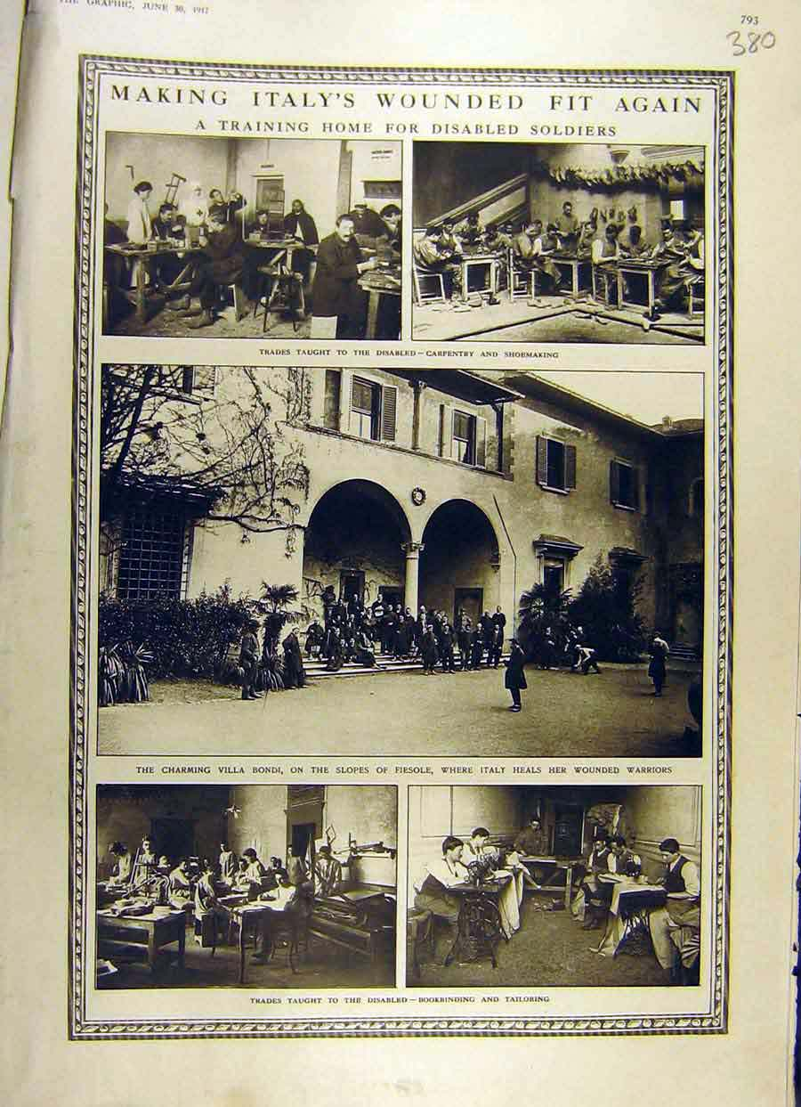 Print 1917 Italy Wounded Soldiers Training Home Ww1 War 80Ddd0 Old Original