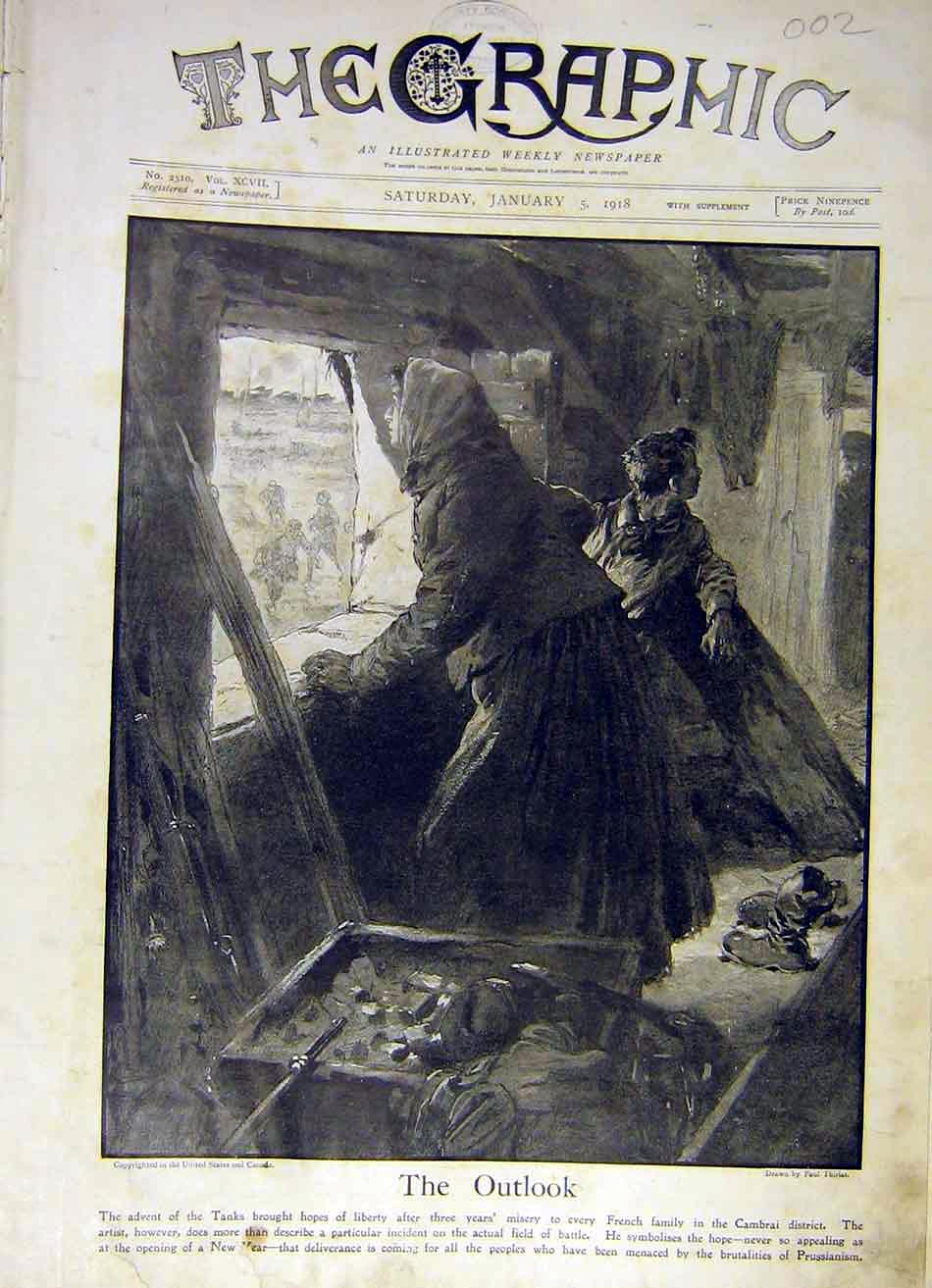 Print France Cambrai Village House Window Lady Child Ww1 1918 02Ddd0 Old Original
