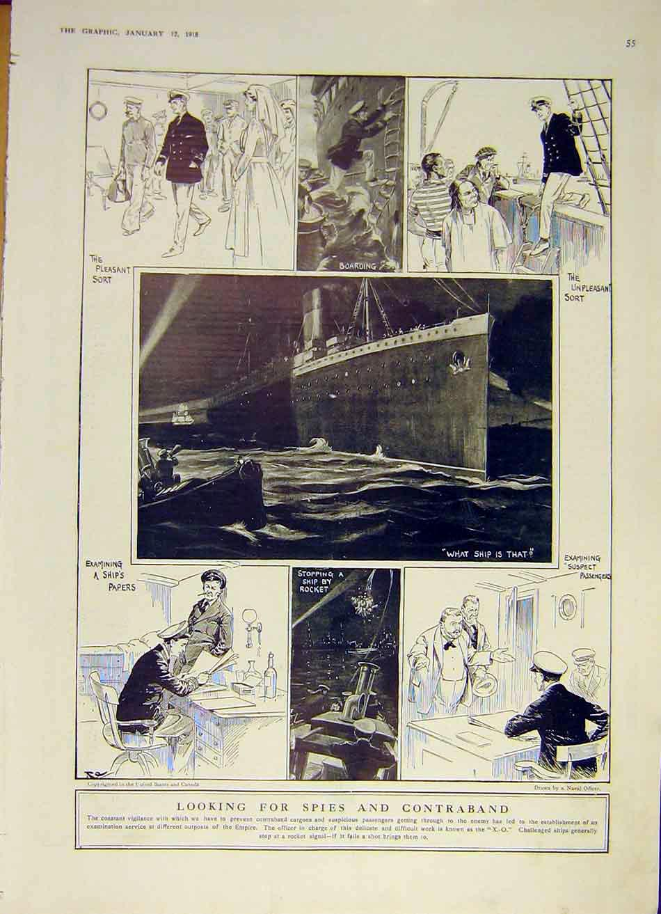 Print Spies Contraband Officers Xo Examin Ship Cargo Sea Ww1 55Ddd0 Old Original