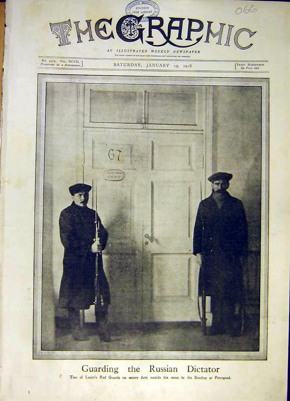 Print Lenin Red Guards Smolny Petrograd 67 Door Ww1 1918 66Ddd0 Old Original