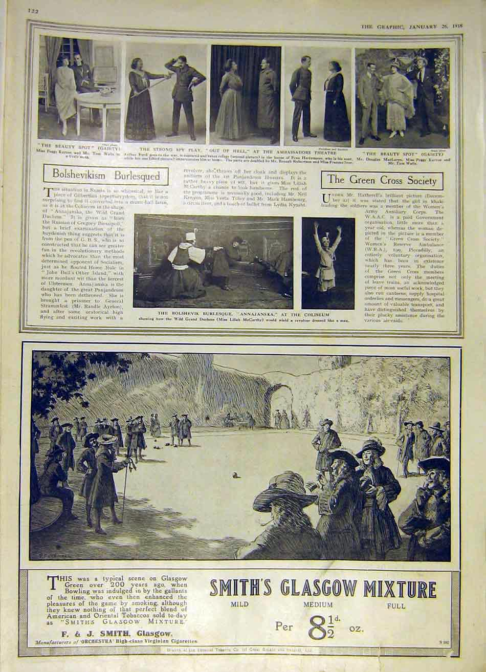 Print Theatre Bolshevikism Green-Cross Society Scenes 1918 22Ddd0 Old Original