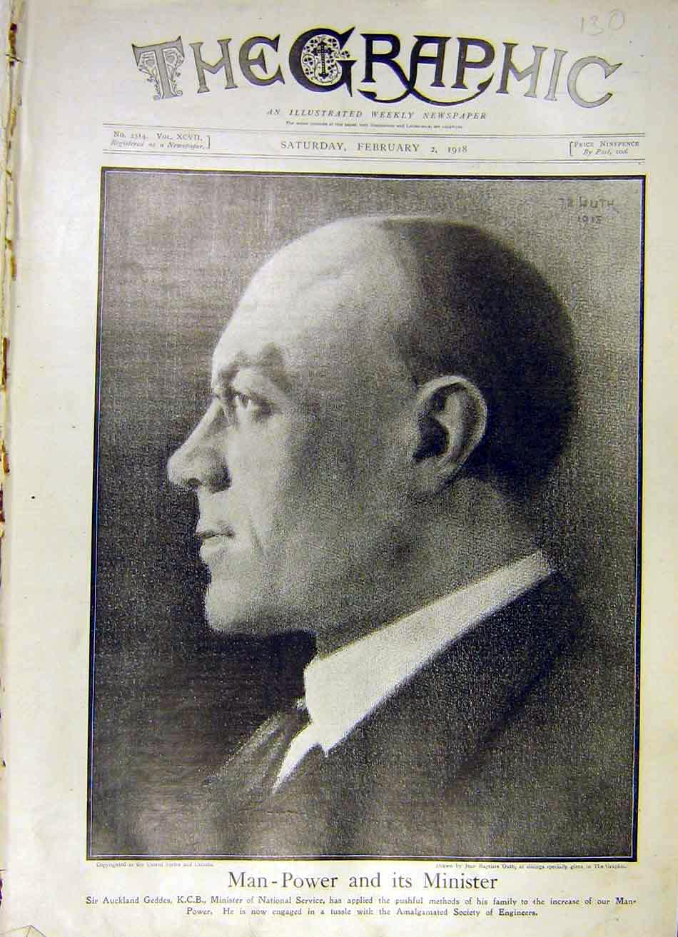 Print Portrait Sir Aukland Geddes Minister National Service 30Ddd0 Old Original