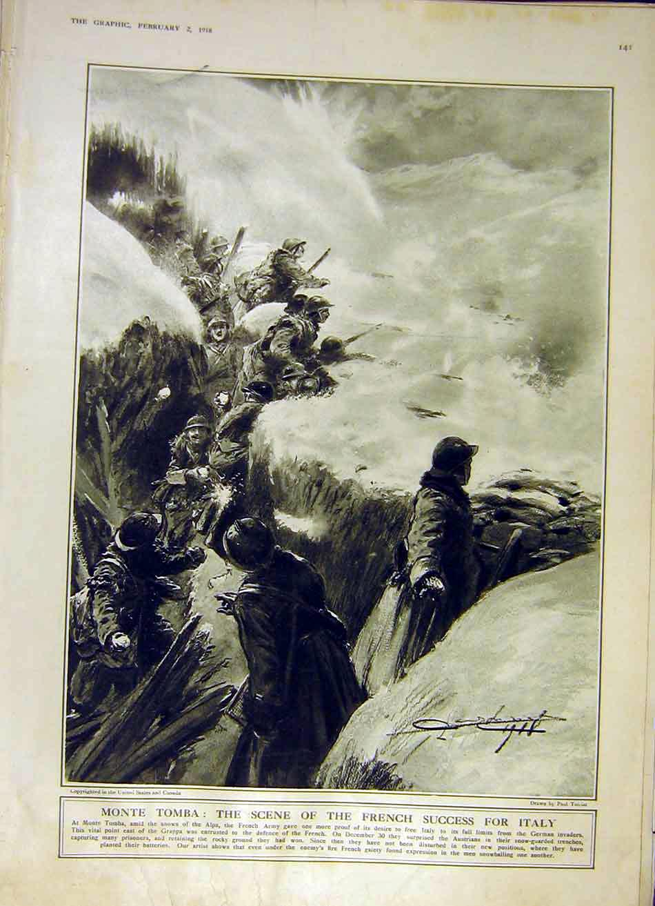 Print Monte Tomba French Victory Italy Alps Army Ww1 1918 41Ddd0 Old Original