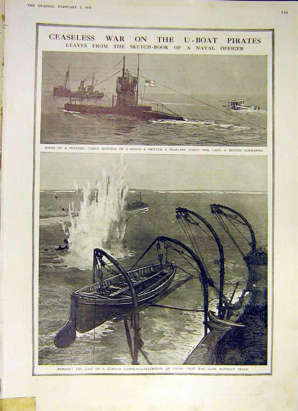 Print U-Boat Pirates Drifter Sea-Plane Submarine Hunt 1918 49Ddd0 Old Original